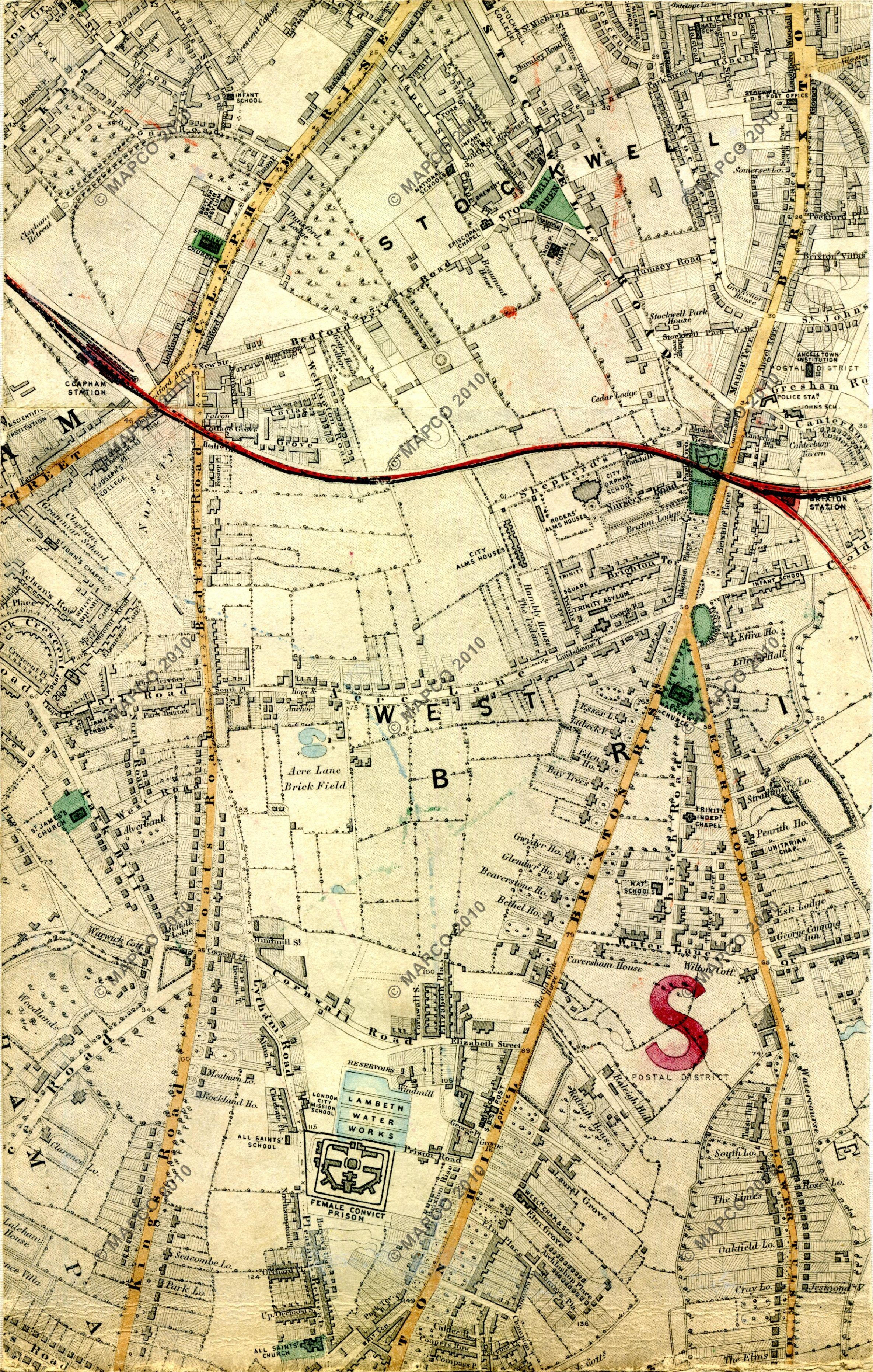 Map Of London And Surrounding Suburbs.Stanford S Library Map Of London And Its Suburbs 1864 With Railway