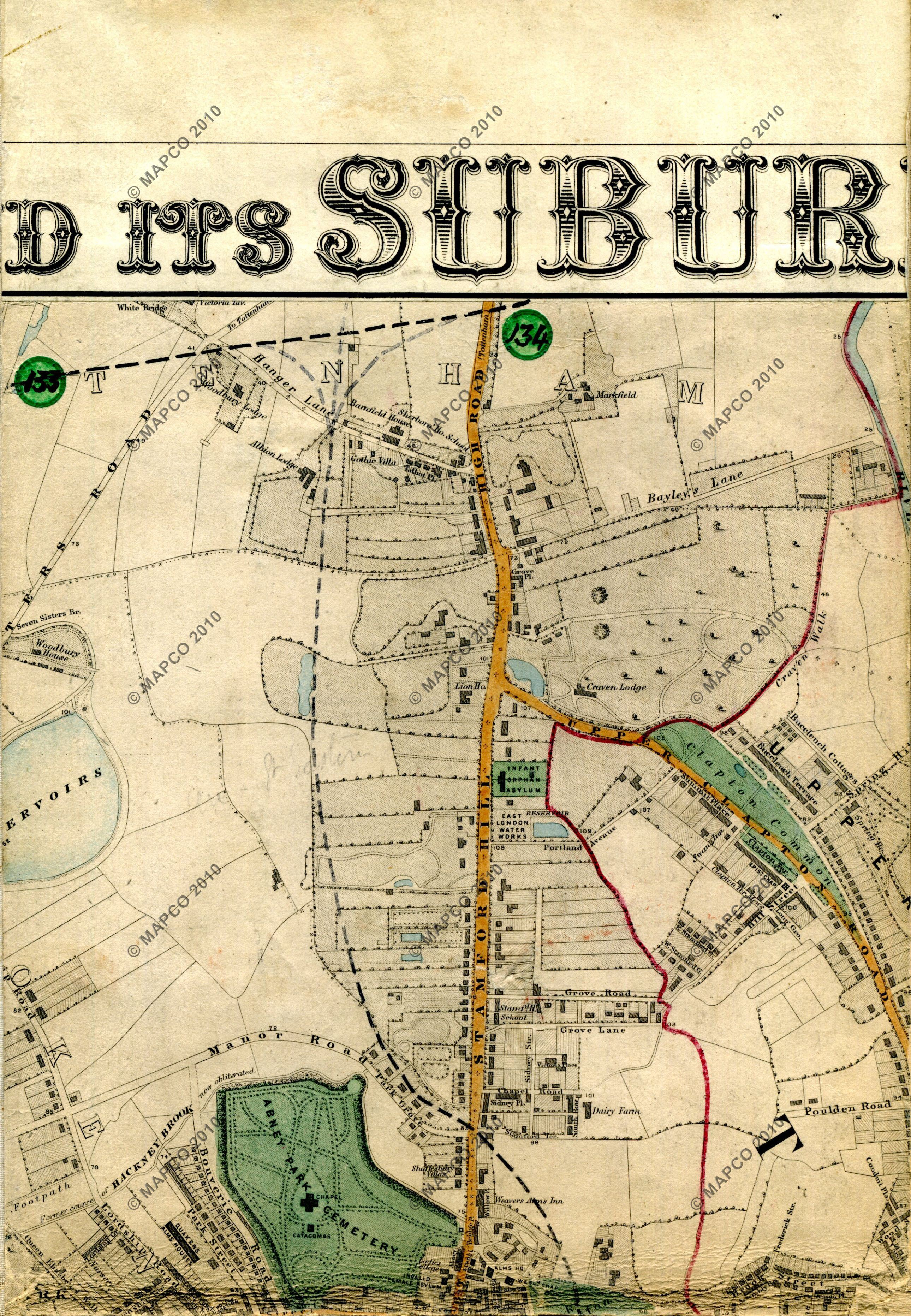 London Map Suburbs.Stanford S Library Map Of London And Its Suburbs 1864 With Railway