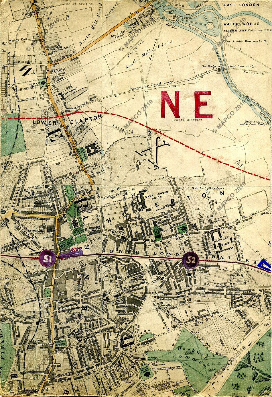 Map Of North East London.Stanford S Library Map Of London And Its Suburbs 1864 With Railway